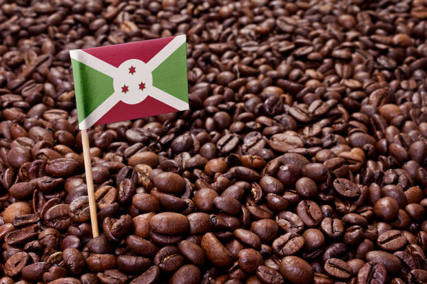 Flag of Burundi sticking in coffee beans.(series)