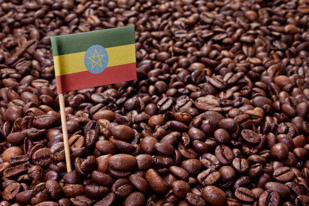 Flag of Ethiopia sticking in coffee beans.(series)