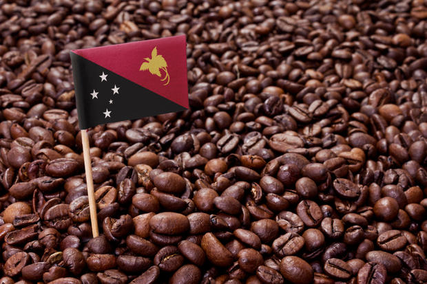 Flag of Papua New Guinea sticking in coffee beans.(series)